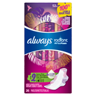 Always Radiant Size 2 Heavy Flow Pads, Light Clean Scent