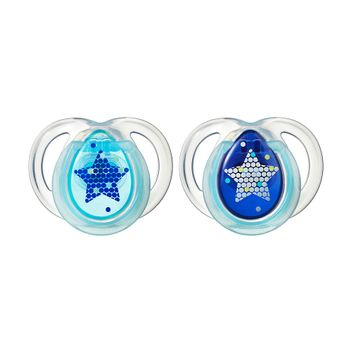 Tommee Tippee Night Time Pacifier, 0-6 Months, 2-Pack - Blue/Silver Stars