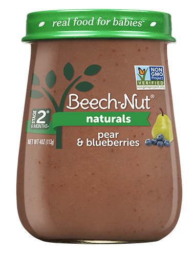 Beech-Nut naturals pear & blueberries jar