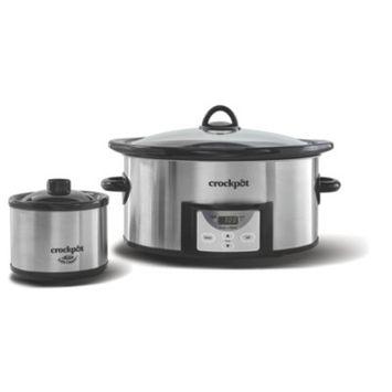 Crockpot™ 6-Quart Slow Cooker, Programmable, with Little Dipper® Warmer, Stainless Steel