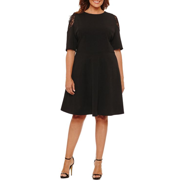 London Times Elbow Sleeve Fit & Flare Dress-Plus