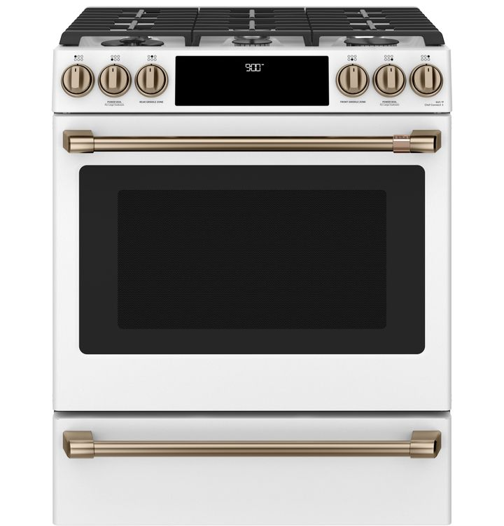 """Ge Appliances Café™ 30"""" Smart Slide-In, Front-Control, Dual-Fuel Range with Warming Drawer C2S900P4MW2"""