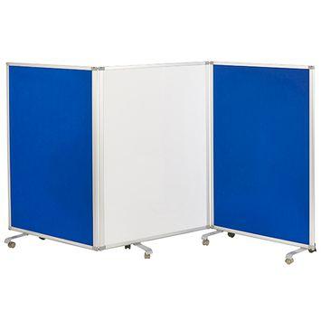 Mobile Dry-Erase and Flannel Room Divider, 3-Panel, Blue