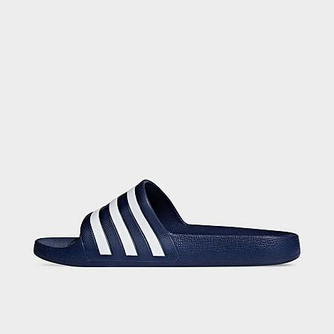Adidas Women's Originals Adilette Aqua Slide Sandals in Blue/Dark Navy Blue Size 9.0