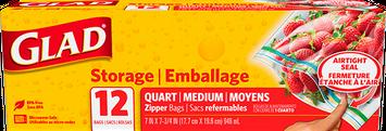 Glad ® Food Storage Zipper Quart