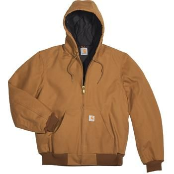 Carhartt Mens Duck Active Jacket - Quilted Flannel Lined Brown XL