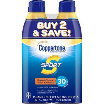 Coppertone Sport Sunscreen Spray - SPF 30 - Twin Pack 11oz