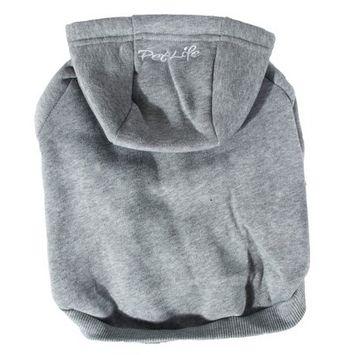 Pet Life Fashion Plush Cotton Hooded Sweater Dog Hoodie - Gray - M