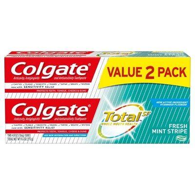 Colgate Total Toothpaste Gel with Fluoride - Fresh Mint Stripe - 4.8oz/2pk