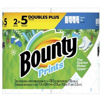 Bounty Select-A-Size Paper Towels Winter Print - 2 Double Plus Rolls 5 = Regular Rolls