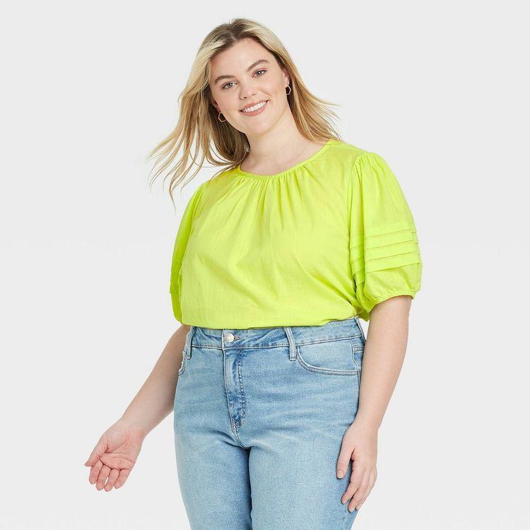 Women's Plus Size Short Sleeve Crewneck Pleated Blouse - Ava & Viv Lime X, Green