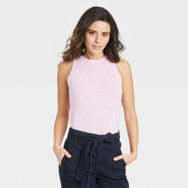 Women's Linen Tank Top - A New Day Light Pink L