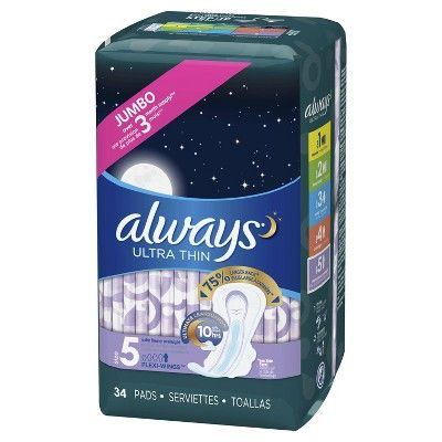 Always Ultra Thin Size 5 Extra Heavy Overnight Pads With Wings, Unscented