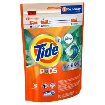 Tide PODS Laundry Detergent Pacs with Febreze Botanical Rain - 32ct