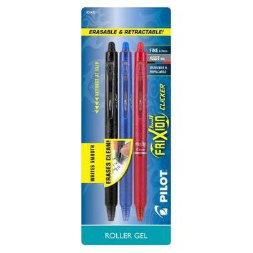 Pilot 3ct FriXion Clicker Erasable Retractable Gel Pens Fine Point 0.7mm Black