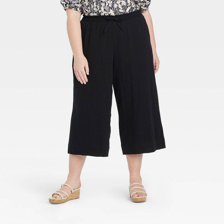 Women's Plus Size Cropped Gauze Pants - Ava & Viv Black 1X