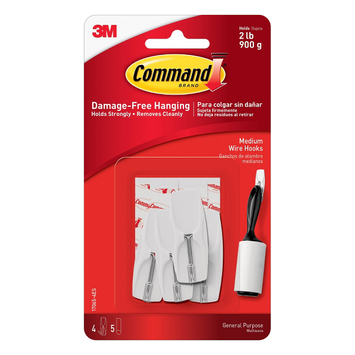 Command Wire Hooks Medium With 4 Hooks/5 Strips White