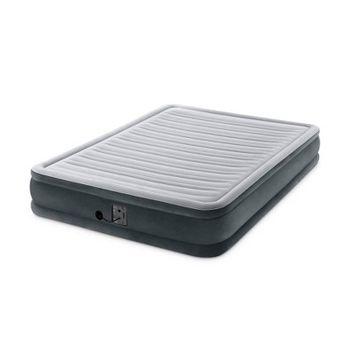 Intex Dura Beam Plus Series Mid Rise Queen Air Bed Mattress with Built In Pump