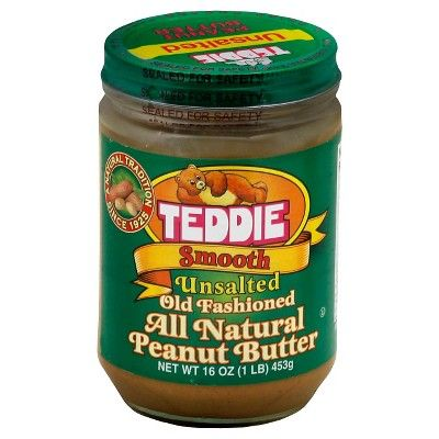 Teddie All Natural Unsalted Smooth Peanut Butter 16oz