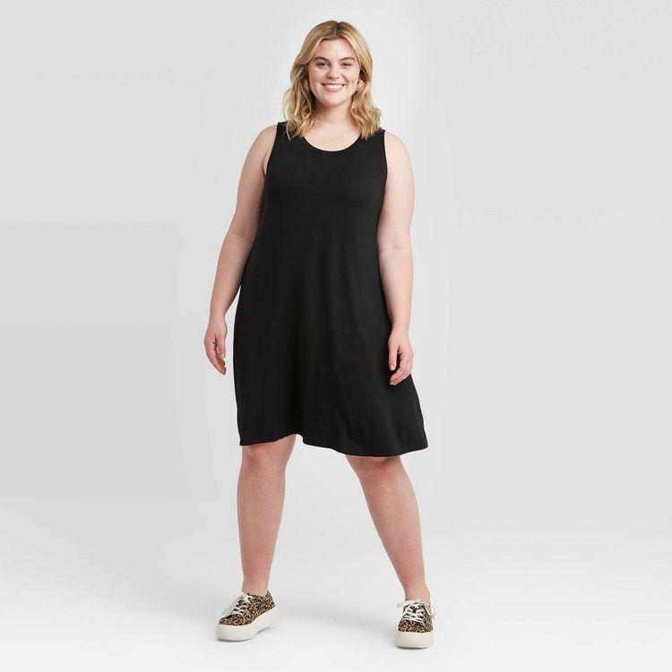 Women's Plus Size Sleeveless Knit Swing Dress - Ava & Viv Black 1X