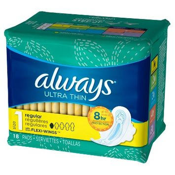 Always Ultra Thin Regular with Flexi-Wings Unscented Pads 18ct