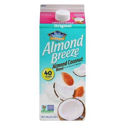 Blue Diamond Almond Breeze Unsweetened Original Almond Coconut Milk Blend - 0.5gal
