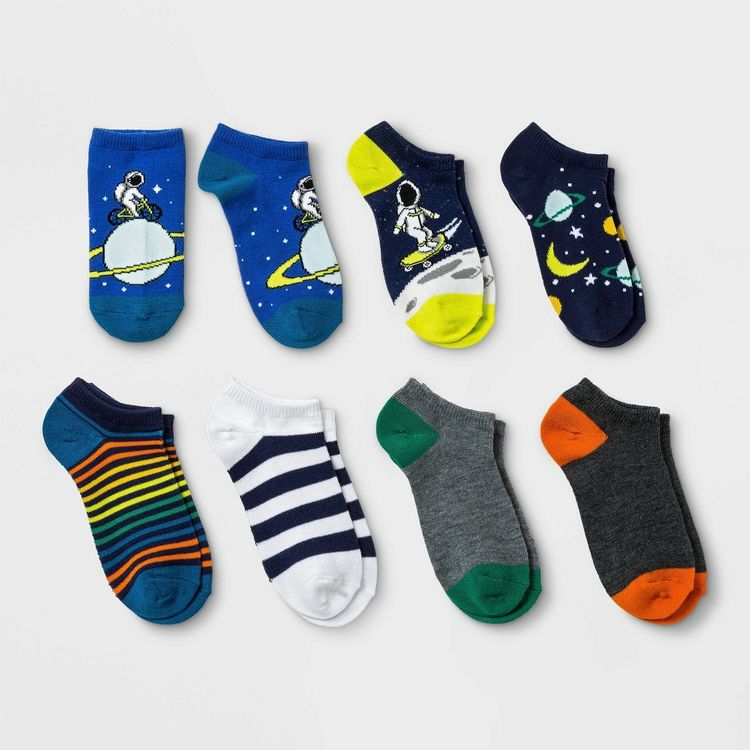 Boys' 7pk No show Space Print Socks - Cat & Jack L