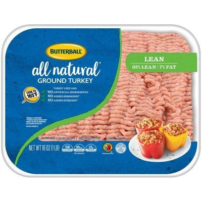 Butterball All Natural Fresh 93/7 Ground Turkey - 1lb