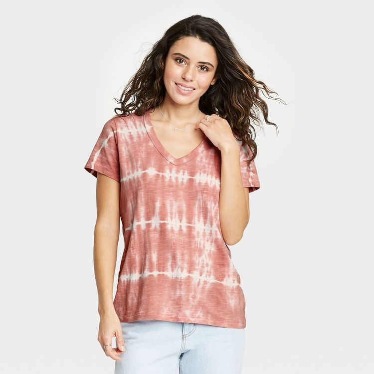 Women's Tie-Dye Short Sleeve V-Neck T-Shirt - Universal Thread Rosewood/White XL