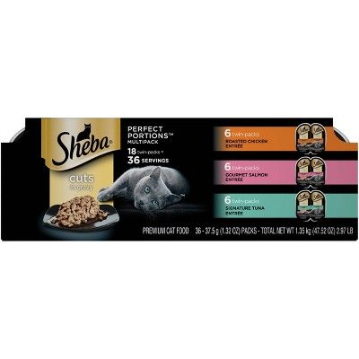 SHEBA® PERFECT PORTIONS™ Cuts in Gravy Roasted Chicken Entrée SHEBA® PERFECT PORTIONS™ Cuts in Gravy Gourmet Salmon Entrée SHEBA® PERFECT PORTIONS™ Cuts in Gravy Signature Tuna Entrée