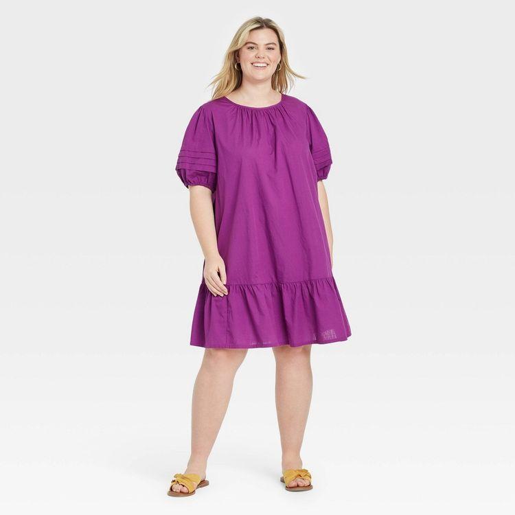 Women's Plus Size Pleated Puff Sleeve Dress - Ava & Viv Purple X