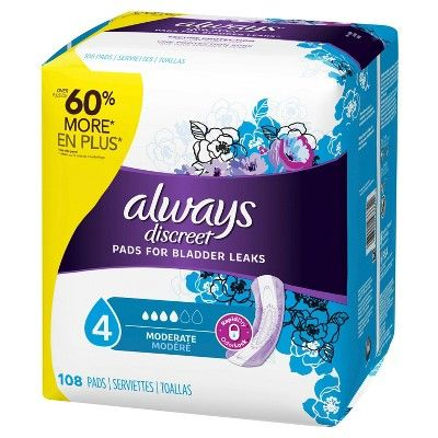 Always Discreet Incontinence Pads - Moderate Absorbency - Size 4 - 108ct