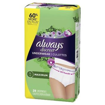 Always Discreet Incontinence Underwear, Maximum Absorbency, Large, 28ct