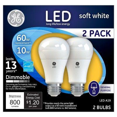 General Electric LED 60w 2pk Light Bulb White