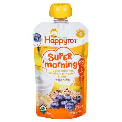 Happy Tot® Organics Super Morning Bananas, Blueberries, Yogurt & Oats + Super Chia Pouch