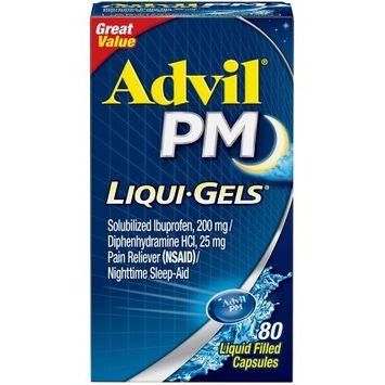 Advil PM Liqui-Gels Pain Reliever/Nighttime Sleep Aid Liquid Filled Capsules - Ibuprofen (NSAID) - 80ct