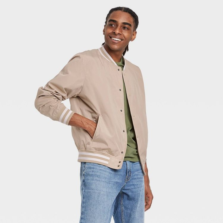 Men's Bomber Jacket - Goodfellow & Co Light Taupe S, Brown
