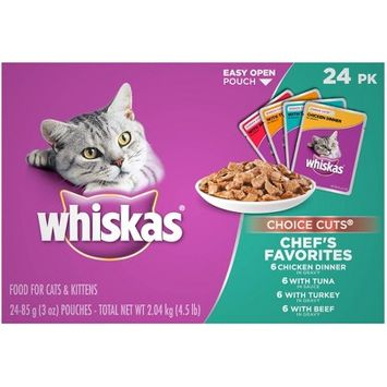 WHISKAS Choice Cuts Chef's Favorites Variety Pack 2 Wet Cat Food - 24pk
