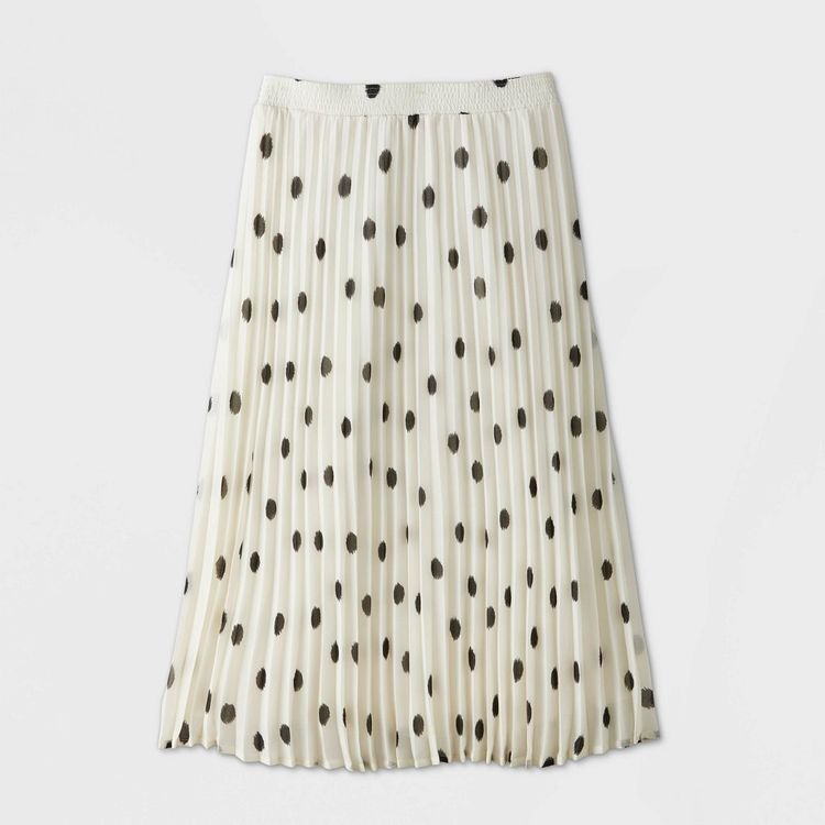 Women's Polka Dot Pleated A-Line Midi Skirt - A New Day White S