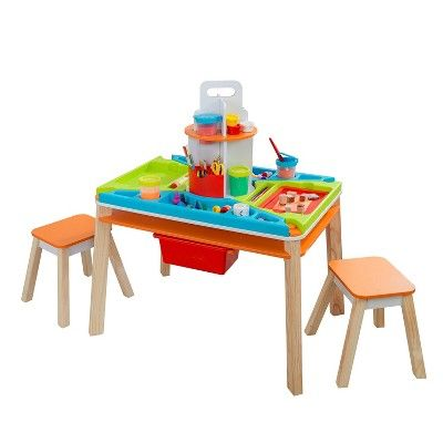 KidKraft Ultimate Creation Activity Art Table with Four Stations & Two Stools