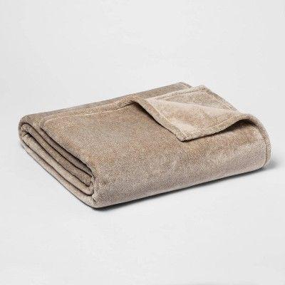 King Microplush Bed Blanket Tan - Threshold™