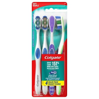 Colgate 360 Manual Toothbrush with Tongue and Cheek Cleaner - Soft Bristles - 4ct