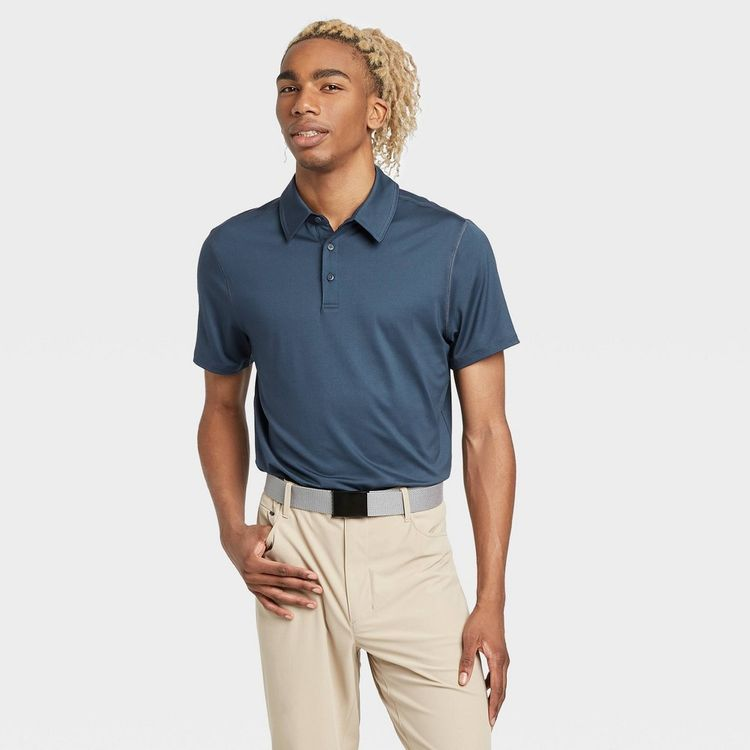 Men's Jersey Golf Polo Shirt - All in Motion Blue L