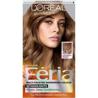 L'Oreal Paris Feria Multi-Faceted Shimmering Color - 63 Light Golden Brown - 1 Kit