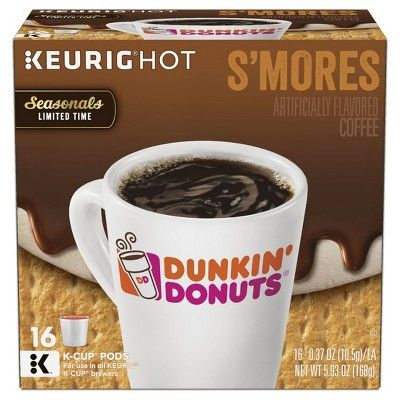 Dunkin' Donuts S'mores Medium Roast Coffee - Keurig K-Cup Pods - 16ct
