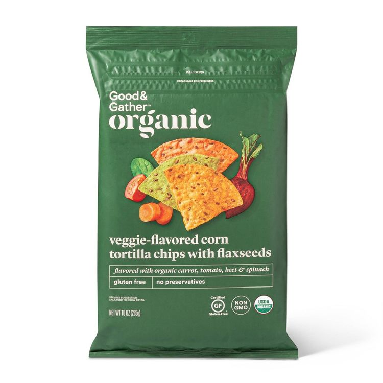 VEGGIE-FLAVORED CORN TORTILLA CHIPS WITH FLAXSEEDS