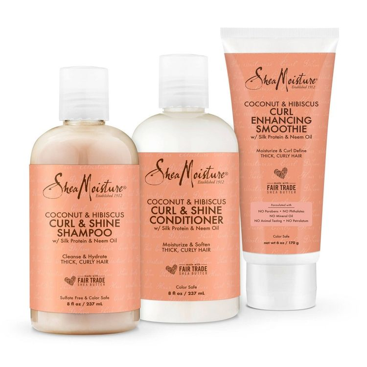 SheaMoisture Coconut & Hibiscus Curl Defining Shampoo, Conditioner and Smoothie Bundle - 3ct