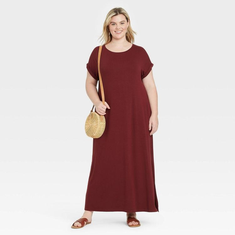 Women's Plus Size Short Sleeve Knit Dress - Ava & Viv Cabernet Red X