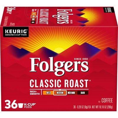 Folgers Classic Roast Coffee Medium Roast - Keurig K-Cups Pods - 36ct