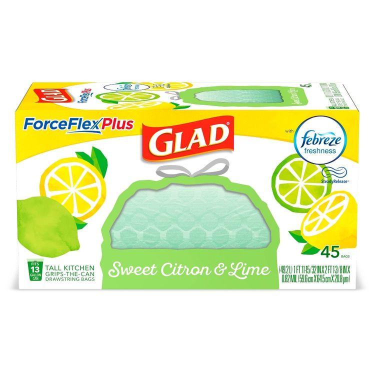 Glad ForceFlexPlus + Tall Kitchen Drawstring Trash Bags - Febreze Sweet Citron & Lime - 13 Gallon - 45ct
